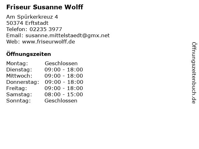 Friseur Susanne Wolff in Erftstadt: Adresse und Öffnungszeiten