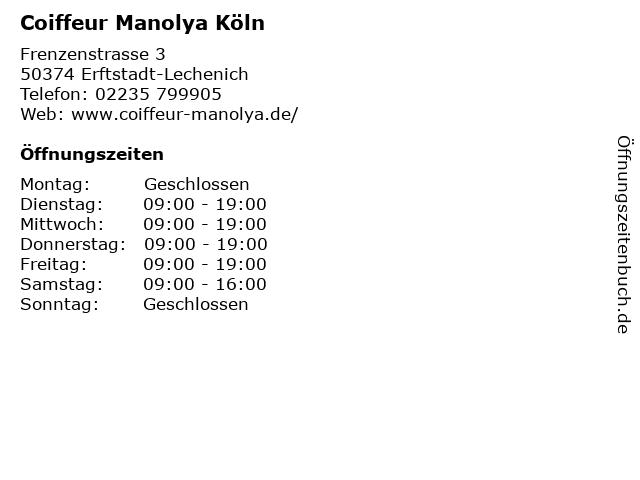 Coiffeur Manolya Köln in Erftstadt-Lechenich: Adresse und Öffnungszeiten