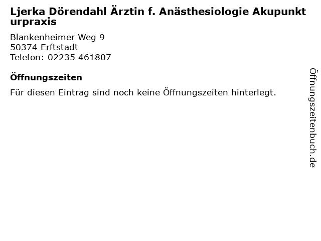 Ljerka Dörendahl Ärztin f. Anästhesiologie Akupunkturpraxis in Erftstadt: Adresse und Öffnungszeiten