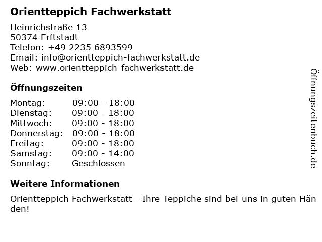 Orientteppich Fachwerkstatt in Erftstadt: Adresse und Öffnungszeiten
