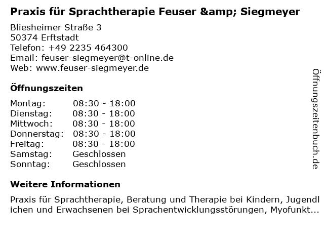 Praxis für Sprachtherapie Feuser & Siegmeyer in Erftstadt: Adresse und Öffnungszeiten