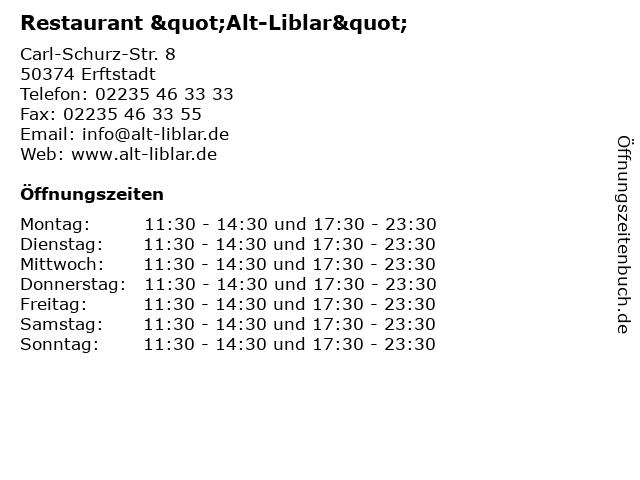 """Restaurant """"Alt-Liblar"""" in Erftstadt: Adresse und Öffnungszeiten"""