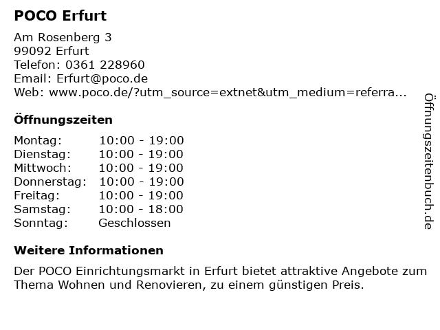 ᐅ öffnungszeiten Poco Am Rosenberg 3 In Erfurt Bindersleben