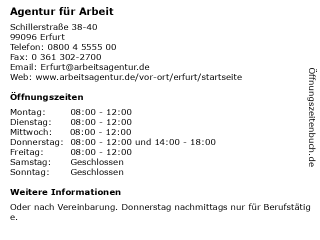 Agentur für Arbeit in Erfurt: Adresse und Öffnungszeiten