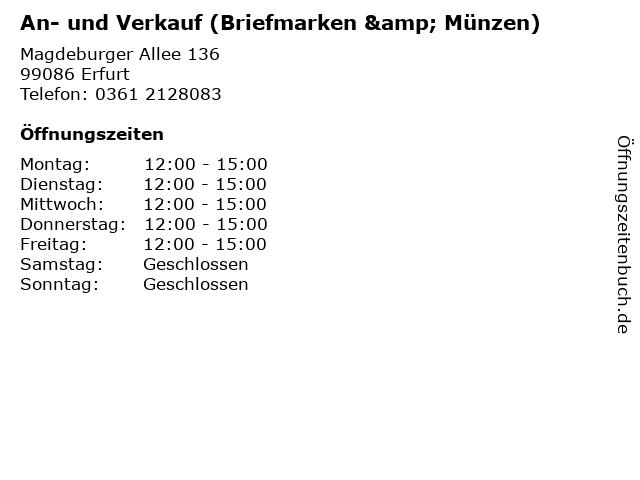 An- und Verkauf (Briefmarken & Münzen) in Erfurt: Adresse und Öffnungszeiten
