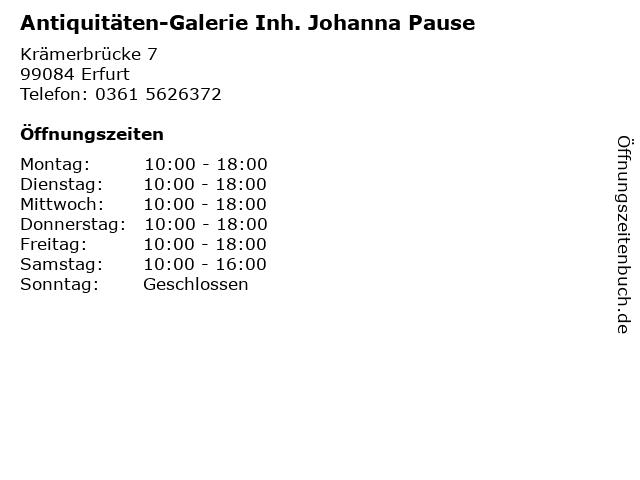 Antiquitäten-Galerie Inh. Johanna Pause in Erfurt: Adresse und Öffnungszeiten