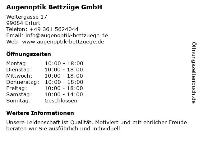 Augenoptik Bettzüge GmbH in Erfurt: Adresse und Öffnungszeiten