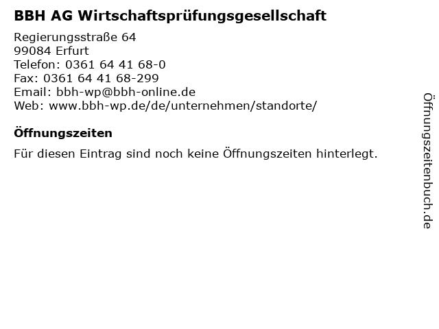 BBH AG Wirtschaftsprüfungsgesellschaft in Erfurt: Adresse und Öffnungszeiten