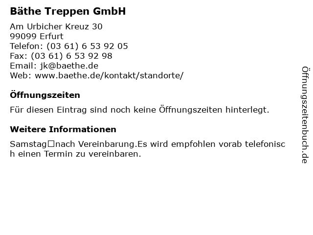 Bäthe Treppen GmbH in Erfurt: Adresse und Öffnungszeiten