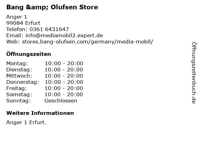 Bang & Olufsen Store in Erfurt: Adresse und Öffnungszeiten