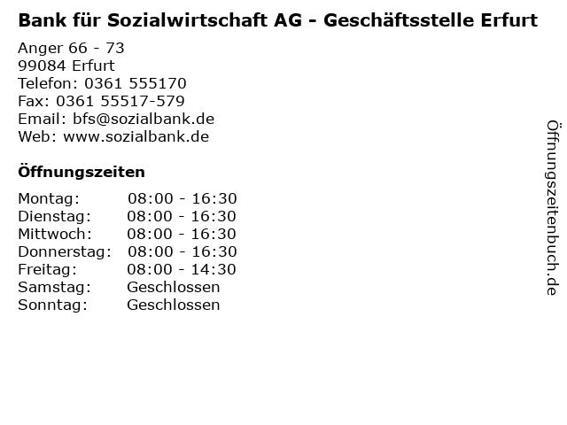 Bank für Sozialwirtschaft AG - Geschäftsstelle Erfurt in Erfurt: Adresse und Öffnungszeiten