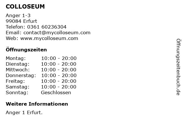 COLLOSEUM in Erfurt: Adresse und Öffnungszeiten
