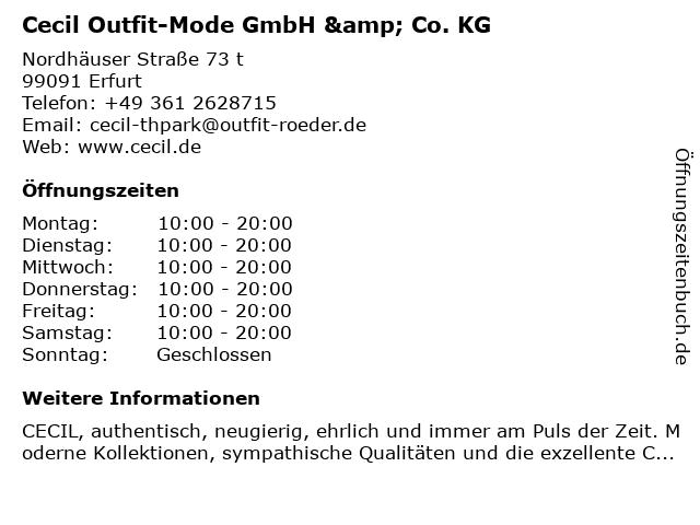 Cecil Outfit-Mode GmbH & Co. KG in Erfurt: Adresse und Öffnungszeiten
