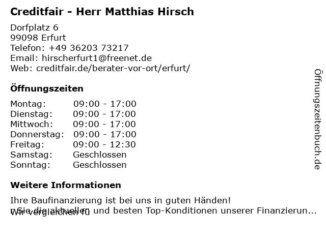 Creditfair - Herr Matthias Hirsch in Erfurt: Adresse und Öffnungszeiten