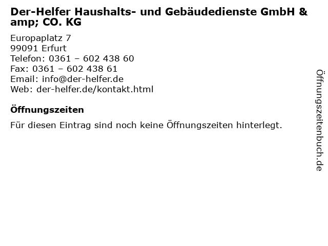 Der-Helfer Haushalts- und Gebäudedienste GmbH & CO. KG in Erfurt: Adresse und Öffnungszeiten