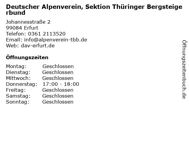 Deutscher Alpenverein, Sektion Thüringer Bergsteigerbund in Erfurt: Adresse und Öffnungszeiten