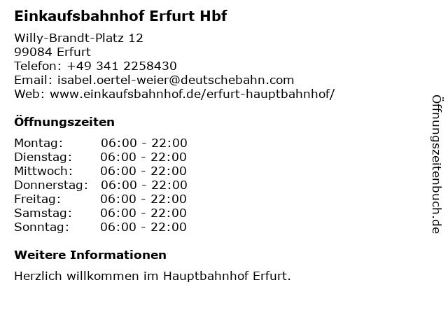 Einkaufsbahnhof Erfurt Hbf in Erfurt: Adresse und Öffnungszeiten