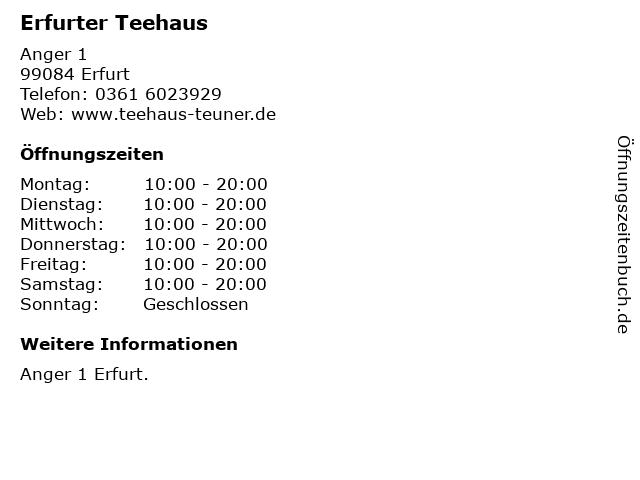Erfurter Teehaus in Erfurt: Adresse und Öffnungszeiten