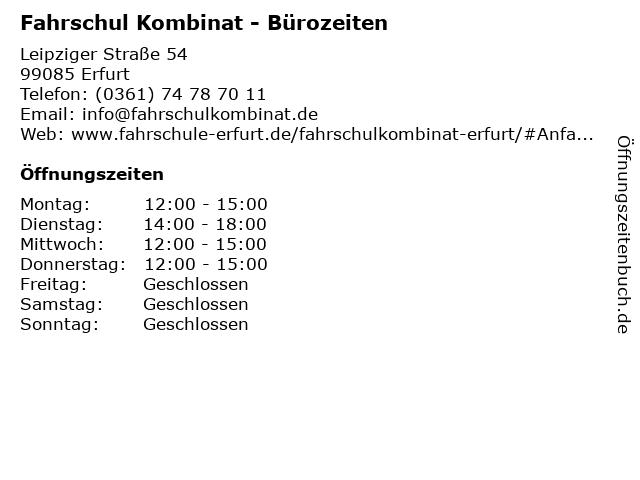 Fahrschul Kombinat - Bürozeiten in Erfurt: Adresse und Öffnungszeiten