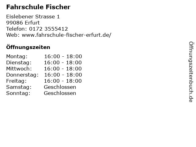 Fahrschule Fischer in Erfurt: Adresse und Öffnungszeiten