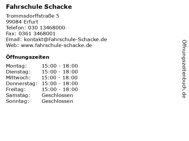 Fahrschule Schacke in Erfurt: Adresse und Öffnungszeiten