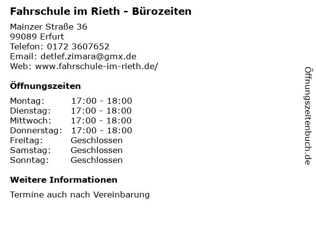 Fahrschule im Rieth - Bürozeiten in Erfurt: Adresse und Öffnungszeiten