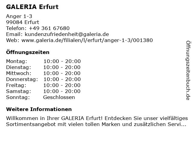 GALERIA Karstadt Kaufhof Erfurt in Erfurt: Adresse und Öffnungszeiten