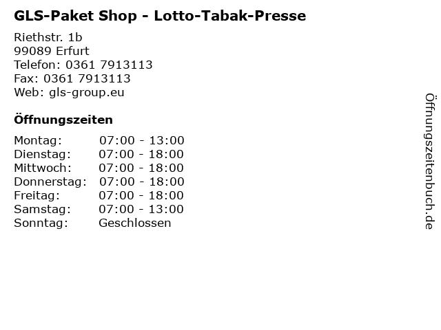 GLS-Paket Shop - Lotto-Tabak-Presse in Erfurt: Adresse und Öffnungszeiten