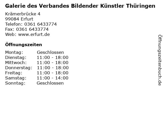 Galerie des Verbandes Bildender Künstler Thüringen in Erfurt: Adresse und Öffnungszeiten