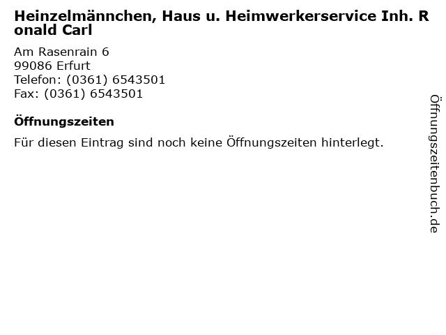 Heinzelmännchen, Haus u. Heimwerkerservice Inh. Ronald Carl in Erfurt: Adresse und Öffnungszeiten