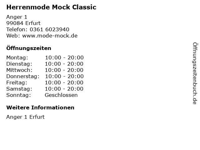 Herrenmode Mock Classic in Erfurt: Adresse und Öffnungszeiten