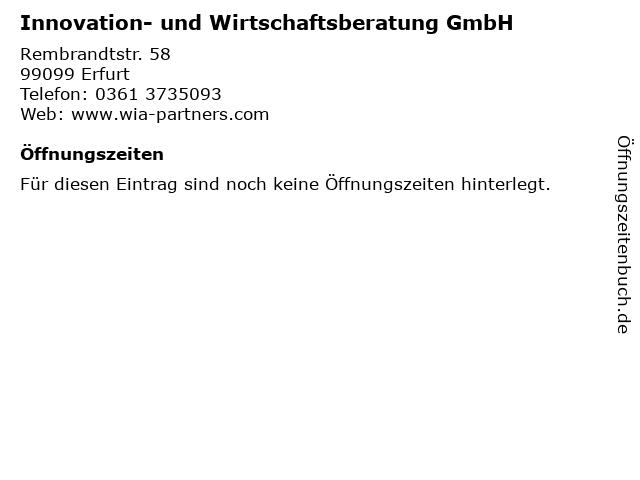 Innovation- und Wirtschaftsberatung GmbH in Erfurt: Adresse und Öffnungszeiten