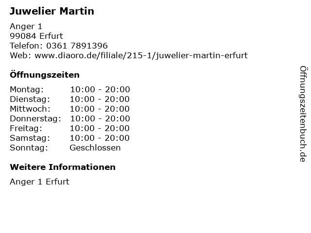 Juwelier Martin in Erfurt: Adresse und Öffnungszeiten