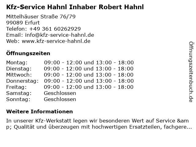 Kfz-Service Hahnl Inhaber Robert Hahnl in Erfurt: Adresse und Öffnungszeiten