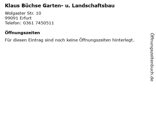 ᐅ Offnungszeiten Klaus Buchse Garten U Landschaftsbau