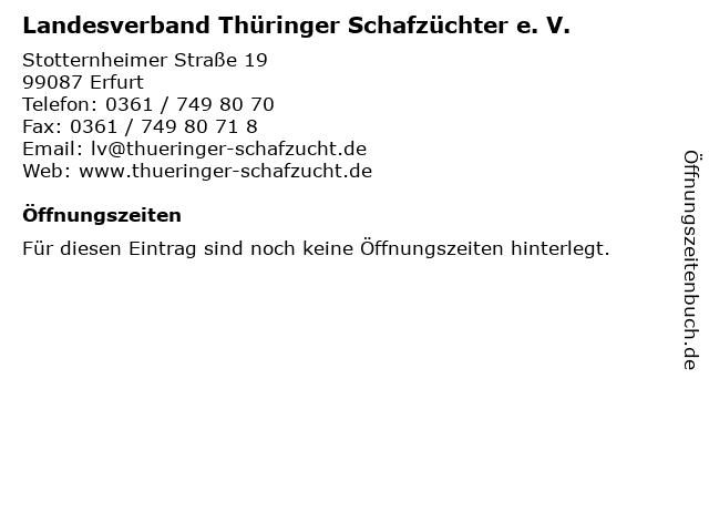 Landesverband Thüringer Schafzüchter e. V. in Erfurt: Adresse und Öffnungszeiten