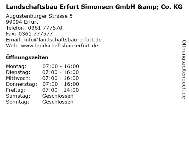 ᐅ Offnungszeiten Landschaftsbau Erfurt Simonsen Gmbh Co Kg