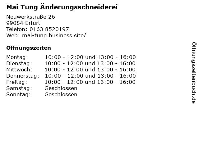 Mai Tung Änderungsschneiderei in Erfurt: Adresse und Öffnungszeiten