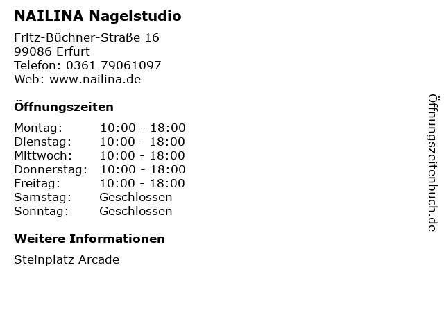 NAILINA Nagelstudio in Erfurt: Adresse und Öffnungszeiten