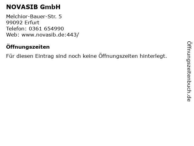 NOVASIB GmbH in Erfurt: Adresse und Öffnungszeiten