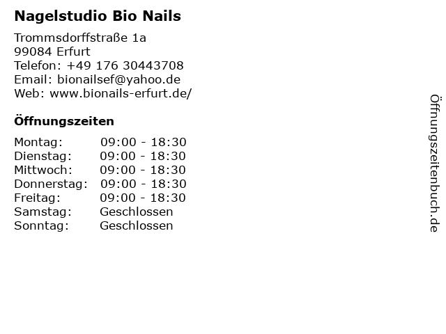 Nagelstudio Bio Nails in Erfurt: Adresse und Öffnungszeiten