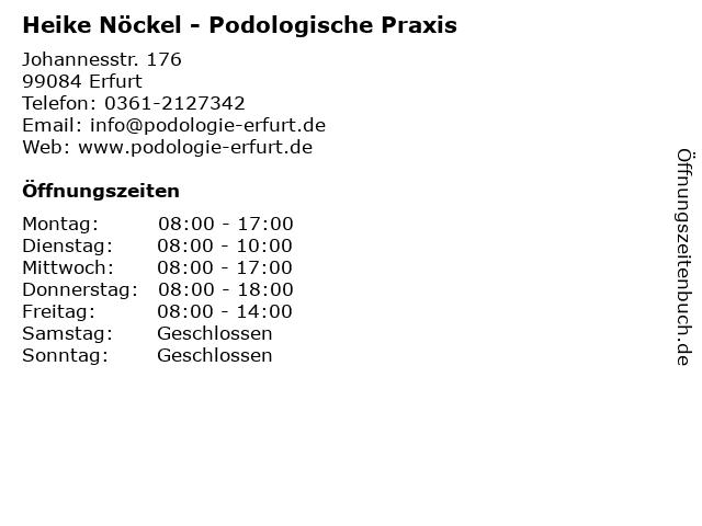 Podologische Praxis Heike Nöckel in Erfurt: Adresse und Öffnungszeiten