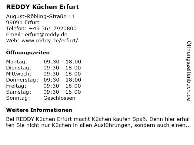 ᐅ Offnungszeiten Reddy Kuchen Erfurt August Robling Strasse 11