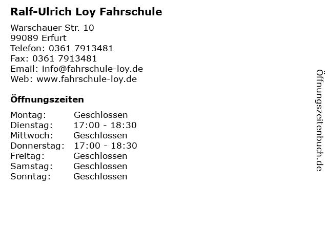 Ralf-Ulrich Loy Fahrschule in Erfurt: Adresse und Öffnungszeiten