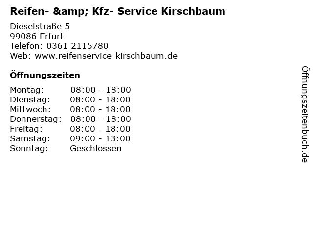 Reifen- & Kfz- Service Kirschbaum in Erfurt: Adresse und Öffnungszeiten