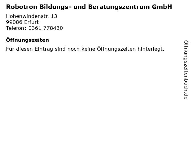 Robotron Bildungs- und Beratungszentrum GmbH in Erfurt: Adresse und Öffnungszeiten