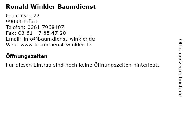 Ronald Winkler Baumdienst in Erfurt: Adresse und Öffnungszeiten