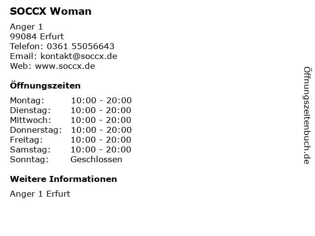 SOCCX Woman in Erfurt: Adresse und Öffnungszeiten