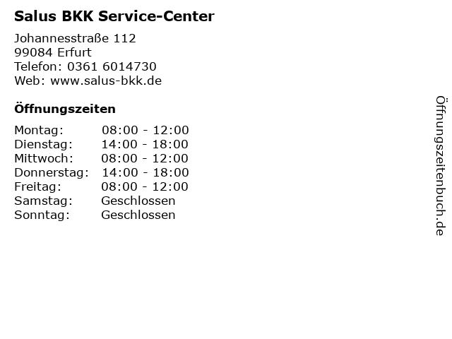 Salus BKK Service-Center in Erfurt: Adresse und Öffnungszeiten