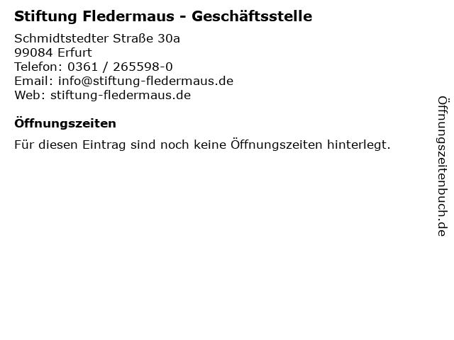 Stiftung Fledermaus - Geschäftsstelle in Erfurt: Adresse und Öffnungszeiten